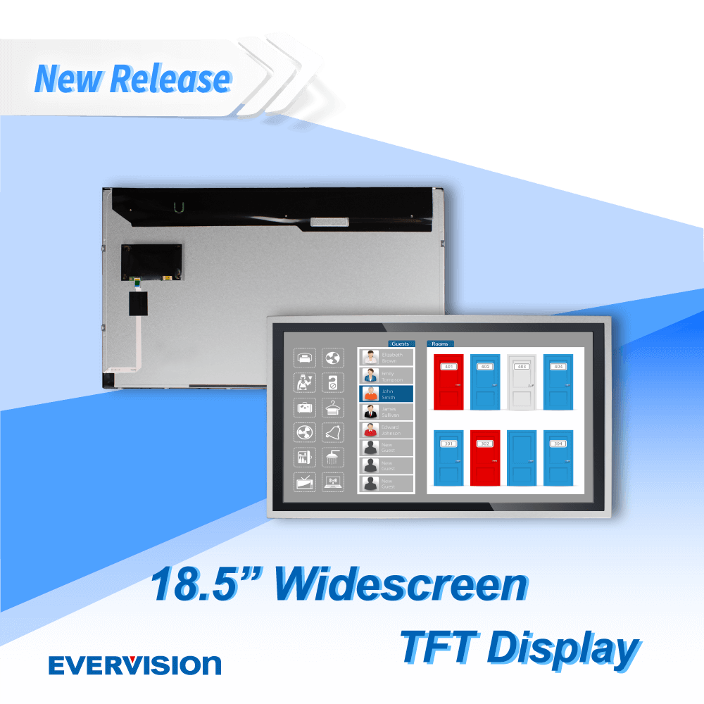 18.5吋 TFT 顯示器, 1366x768 TFT LCD, PCAP 電容式觸控面板 (選配) | 億力光電 EVERVISION